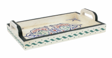 Moroccan Serving Tray. Wood. Handmade Hand painted Off White  Multi  Antiqued Effect (SWT2)
